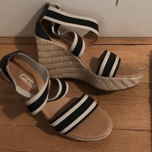 Paul Green Navy Striped Wedge